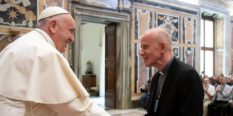 Divine Word Superior General Heinz Kulüke visiting with Pope Francis_full.jpg