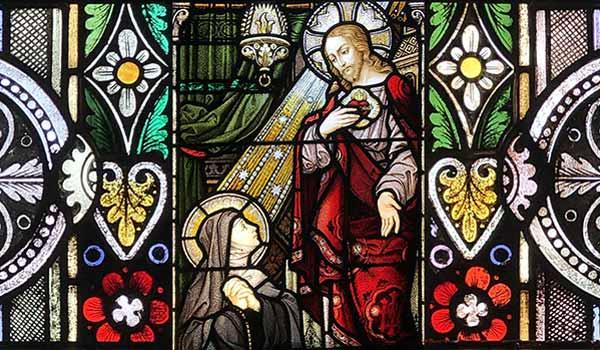 Serce Jezusa, witraż w kaplicy Ducha Świętego, Techny IL