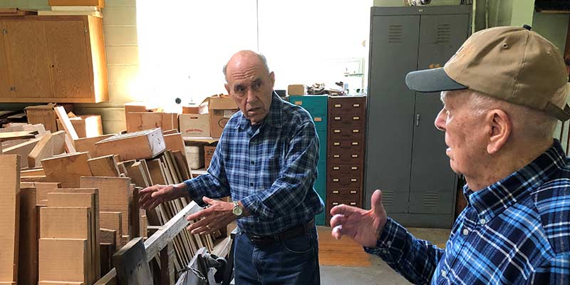 Society of the Divine Word donor, Victor Krueger, with SVD Father Bill Halvey in the wood shop at Techny.
