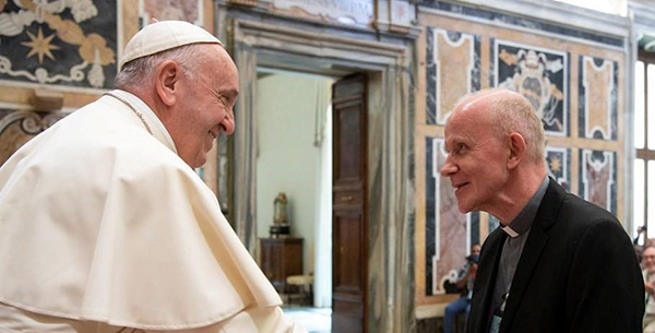 Divine Word Superior General Heinz Kulüke visiting with Pope Francis_sidebar.jpg